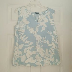 Talbots Sleeveless Light Blue & White Floral Top